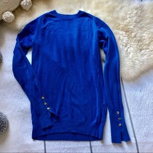 Royal Button Embellished Crew Neck Knit Sweater